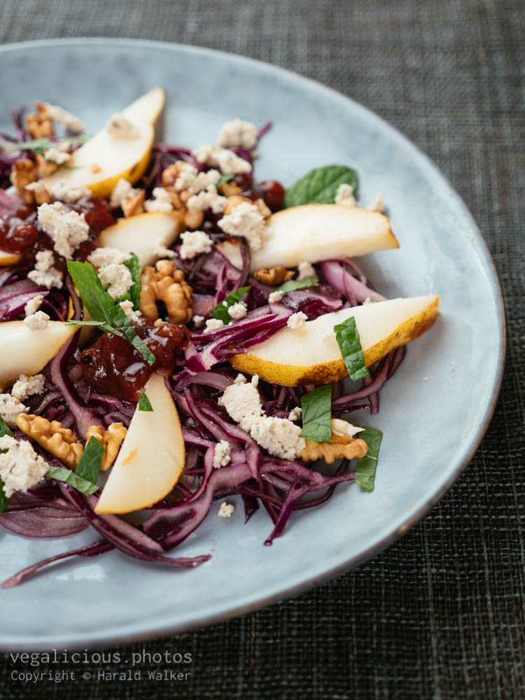 Stock photo of Red Cabbage Salad with Pears and Walnuts