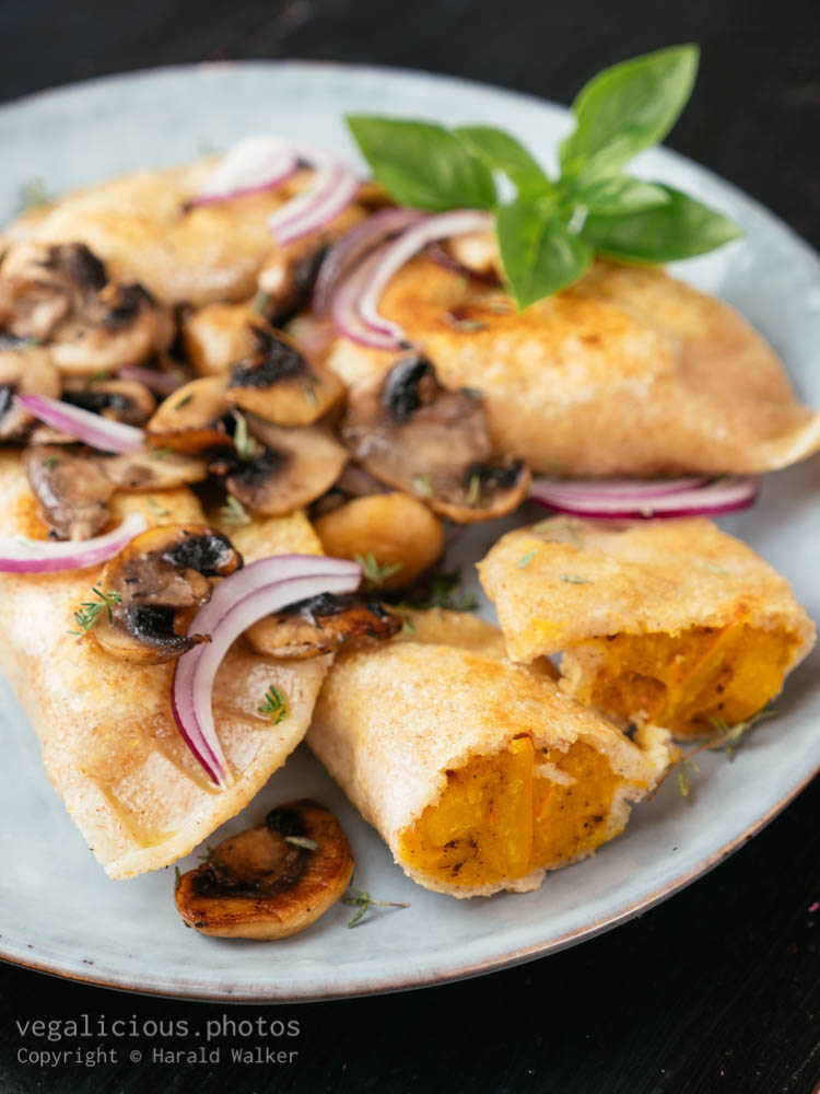 Stock photo of Winter Squash Potstickers with mushrooms