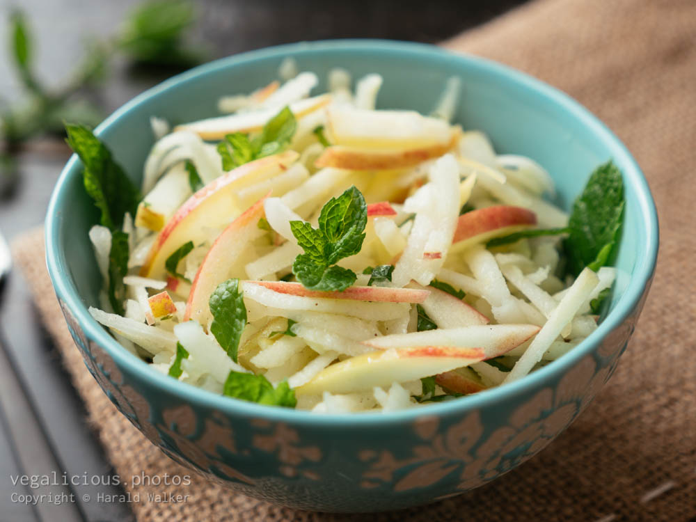 Stock photo of Kohlrabi, Apple Slaw with Mint