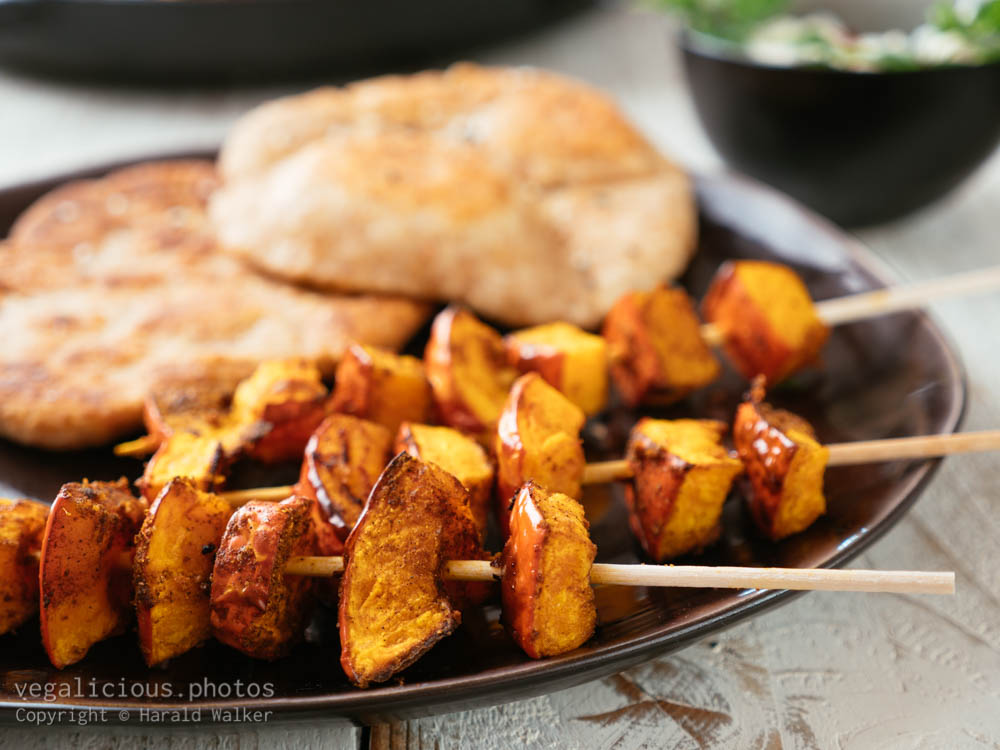 Stock photo of Grilled Winter Squash Kabobs with mint Riata and Flatbreads