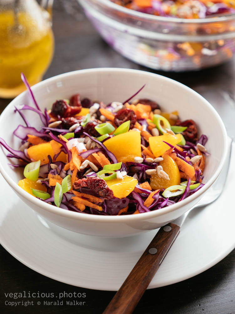 Stock photo of Fall Red Cabbage Slaw with Fruit