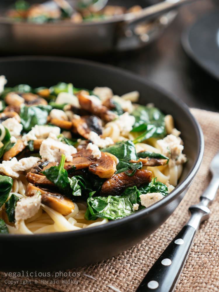 Stock photo of Spinach Mushroom Linguine