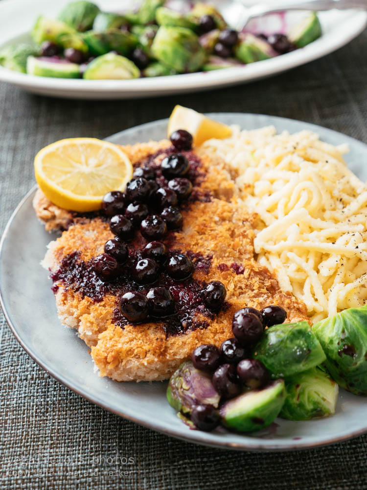 Stock photo of TVP Schnitzels with Pickled Blueberry Sauce