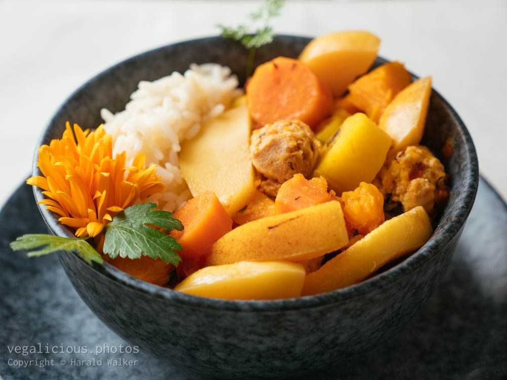 Stock photo of TVP, Pumpkin, Carrot Stew with Quince