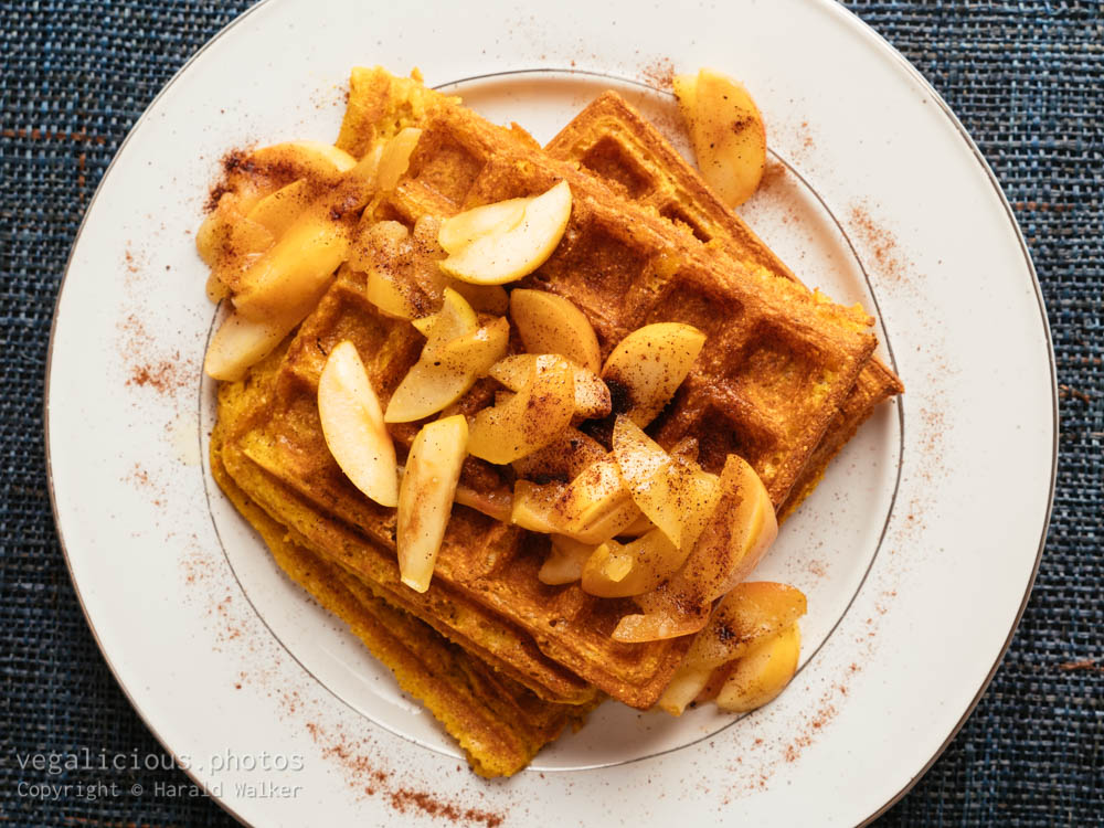 Stock photo of Pumpkin Waffles with Apples