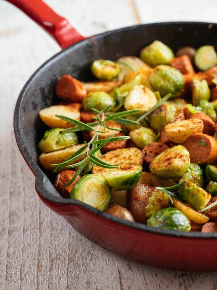 Stock photo of Brussels sprouts with Vegan Sausages and Potatoes