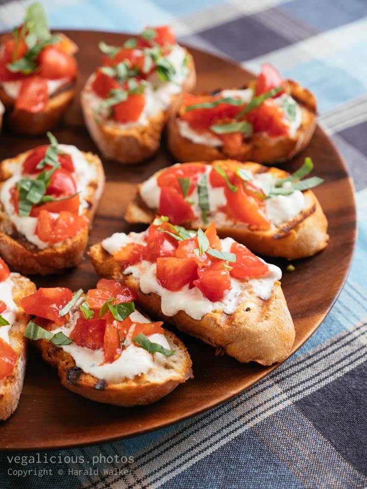 Stock photo of Tomato, Vegan Cheese and Basil Bruschetta