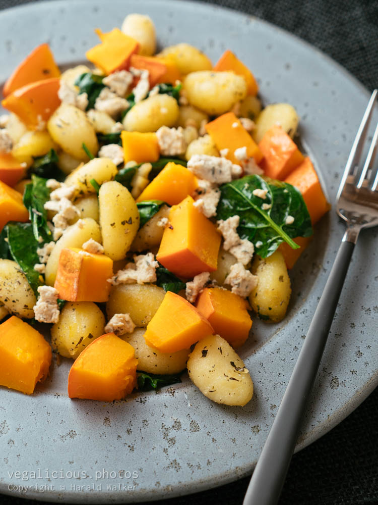 Stock photo of Gnocchi with Winter Squash, Spinach and Vegan Feta