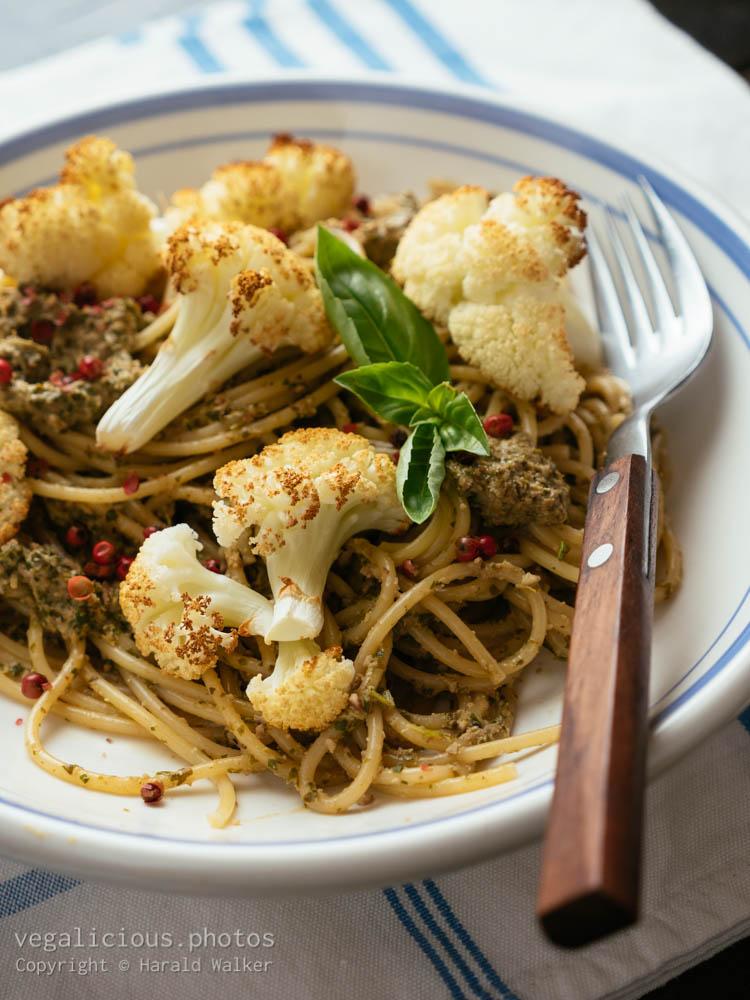 Stock photo of Pesto Pasta with Roasted Cauliflower
