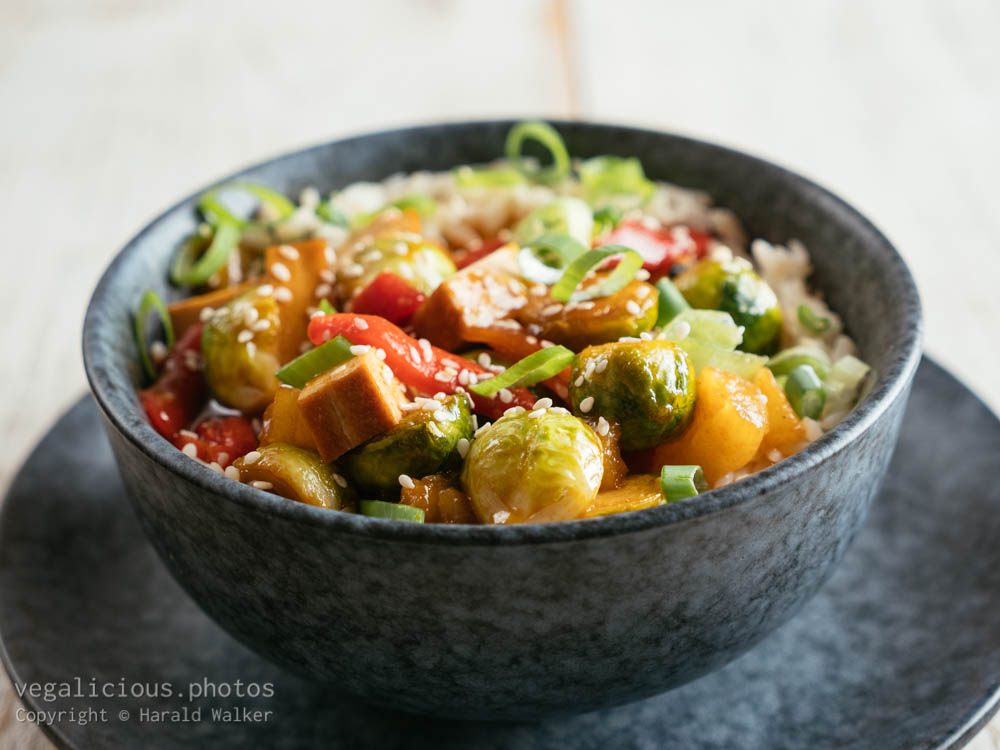 Stock photo of Sweet Sour Brussels Sprouts with Tofu
