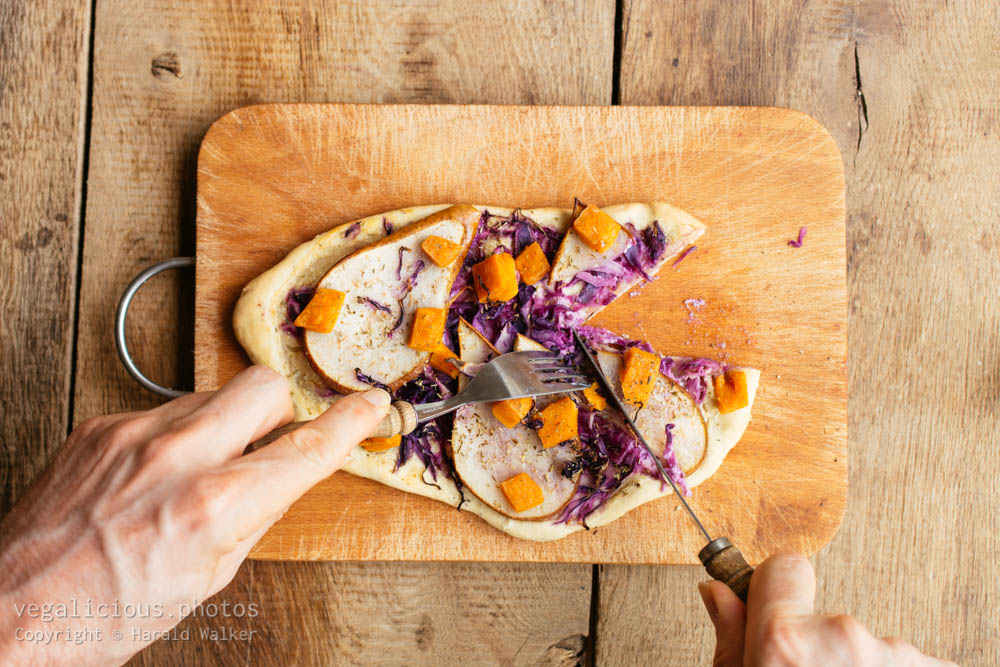 Stock photo of Flammkuchen with Red Cabbage, Pears and Non-Dairy Cheese