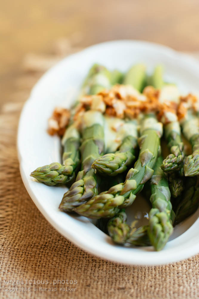 Stock photo of Asparagus with Lemony Mustard Sauce and Spicy Tofu Pieces