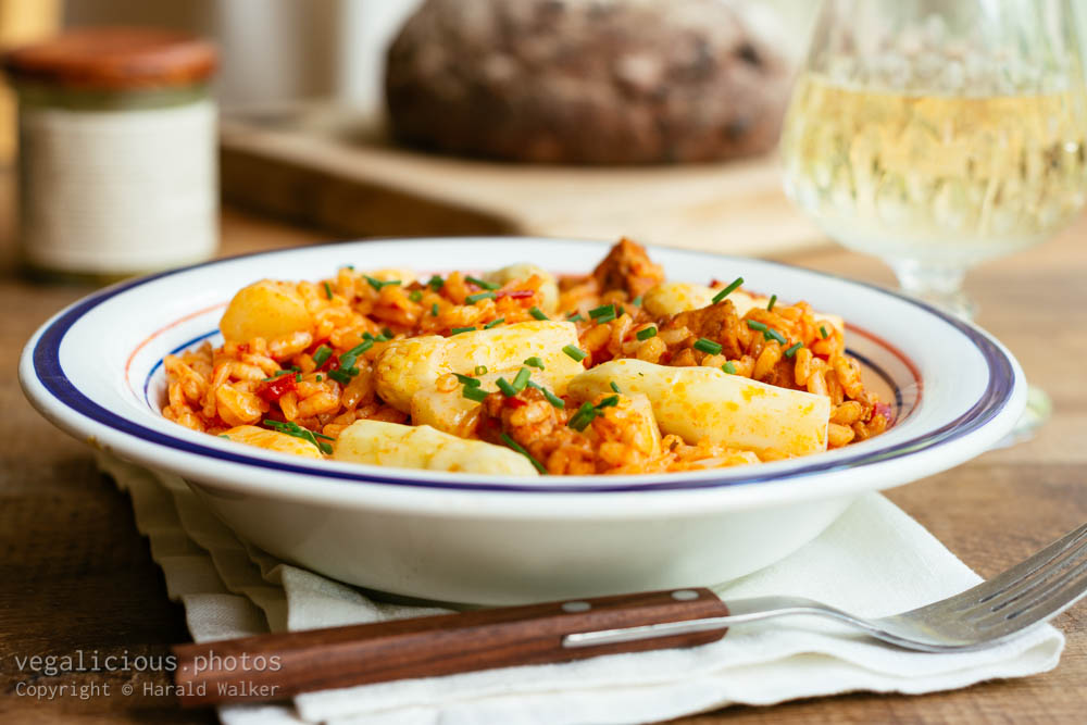 Stock photo of Roasted Paprika Risotto with Asparagus