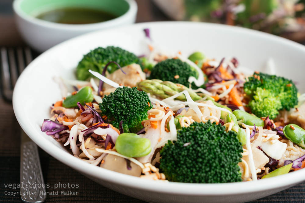 Stock photo of Ramen, Broccoli, Chickun Salad