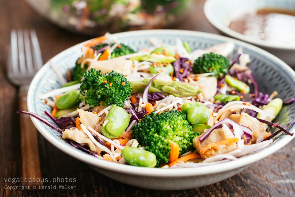 Stock photo of Ramen, Broccoli, Chickun Salad