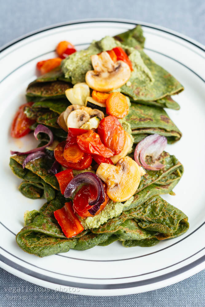 Stock photo of Spinach Crepes with Arugula Pesto