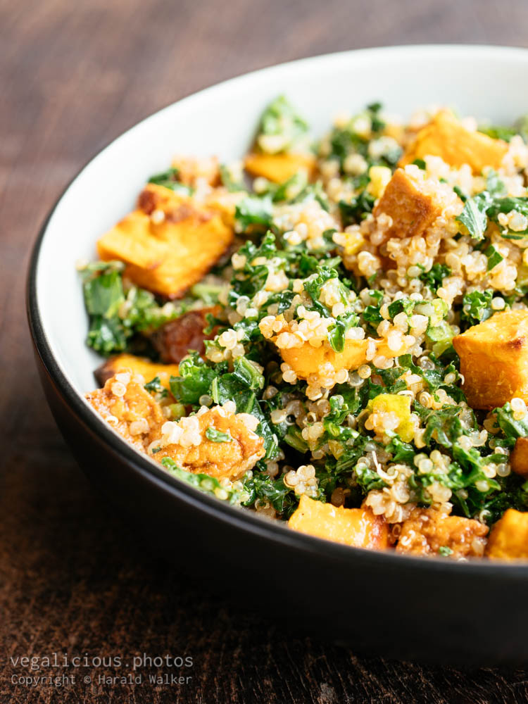 Stock photo of Quinoa kale sweet potato salad with tofu