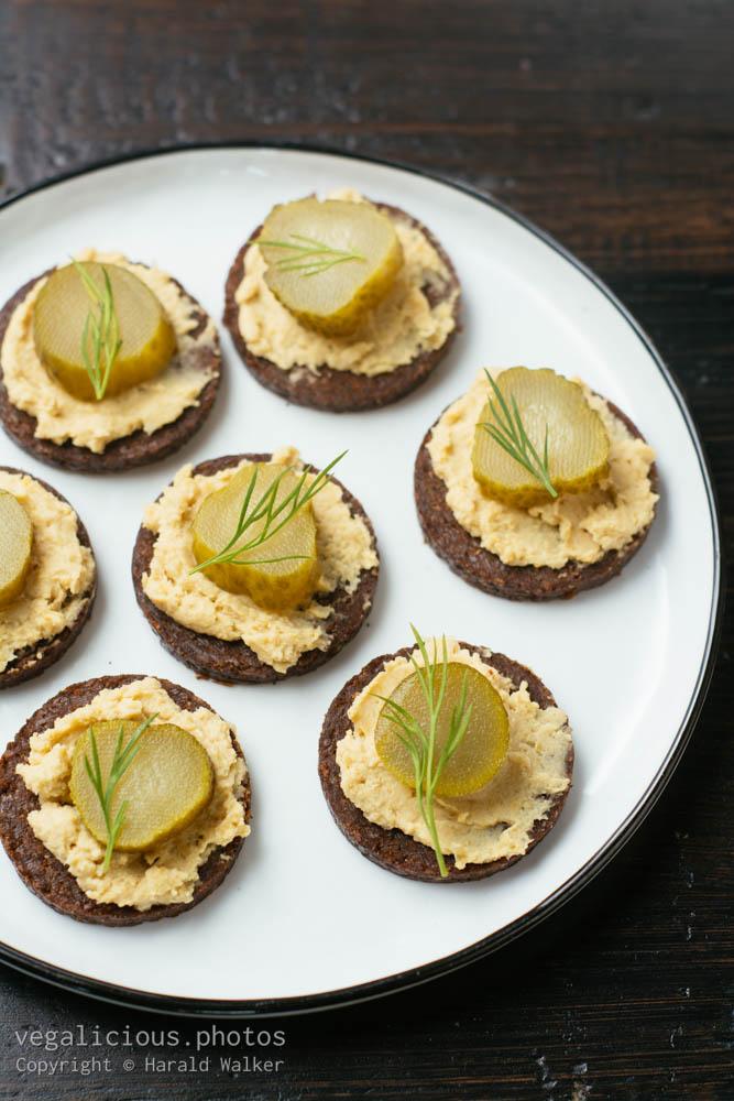 Stock photo of Pumpernickel hummus snack