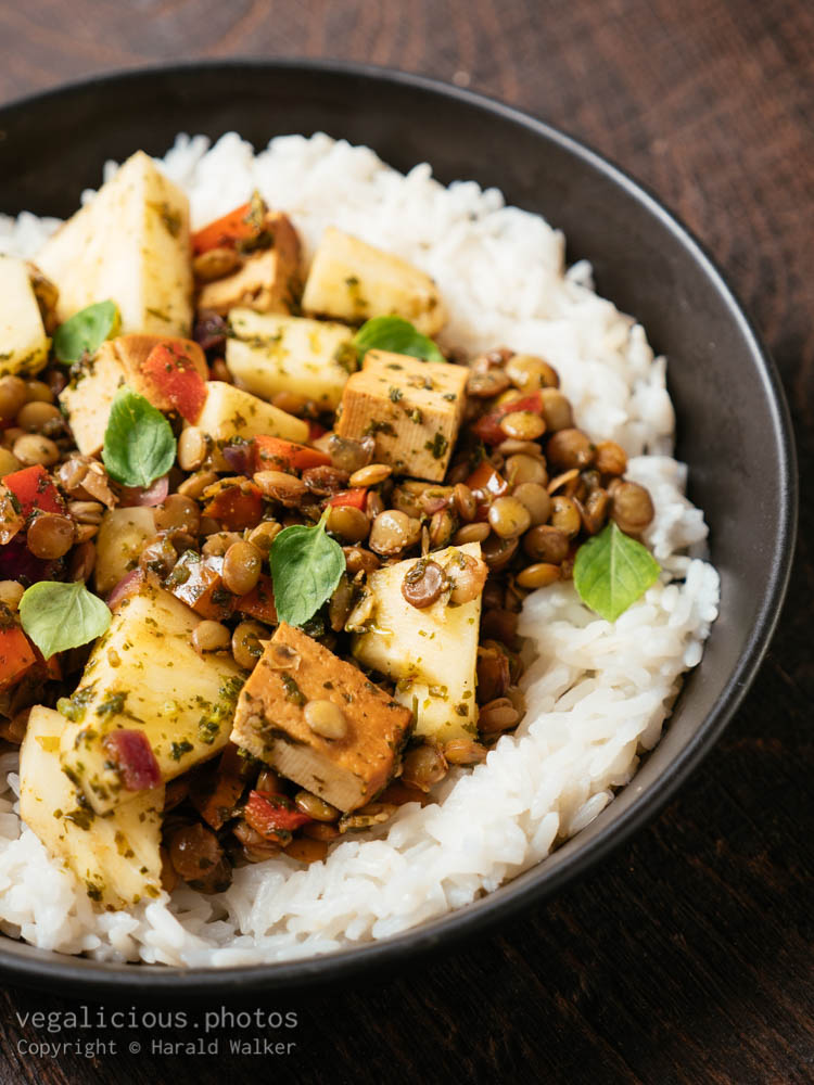 Stock photo of Sweet Sour Lentils with Fresh Pineapple and Smokey Tofu