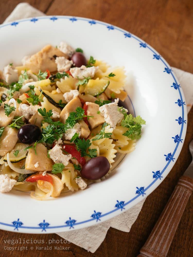 Stock photo of Vegan Greek Pasta Dinner