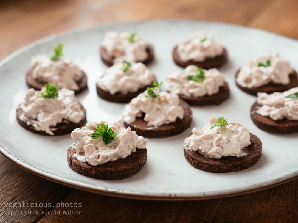 Stock photo of Vegan Cream Cheese and Walnut on Pumpernickel