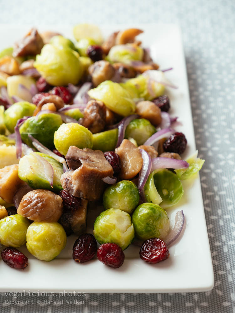 Stock photo of Brussels Spouts with Chestnuts and Dried Cranberries