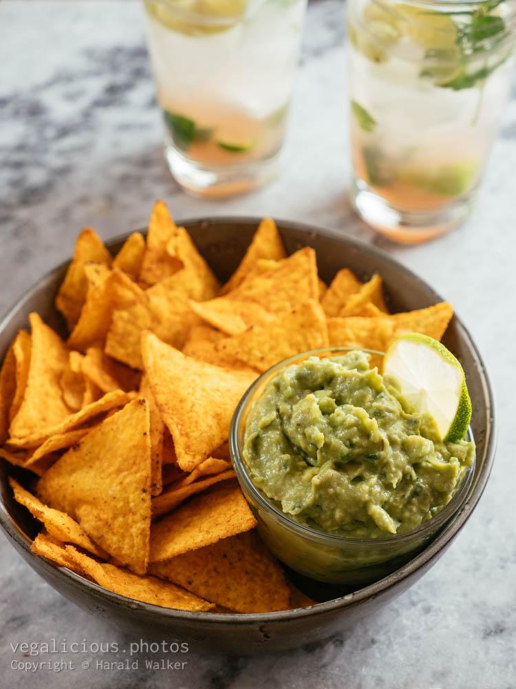 Stock photo of Guacamole, Chips and Mojito