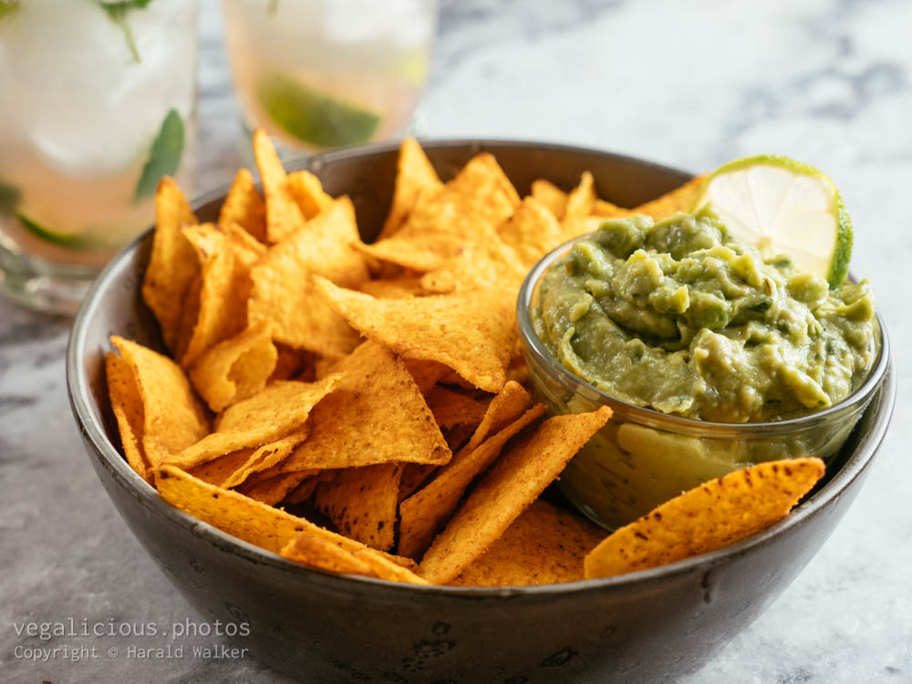 Stock photo of Guacamole, Chips and Mojito