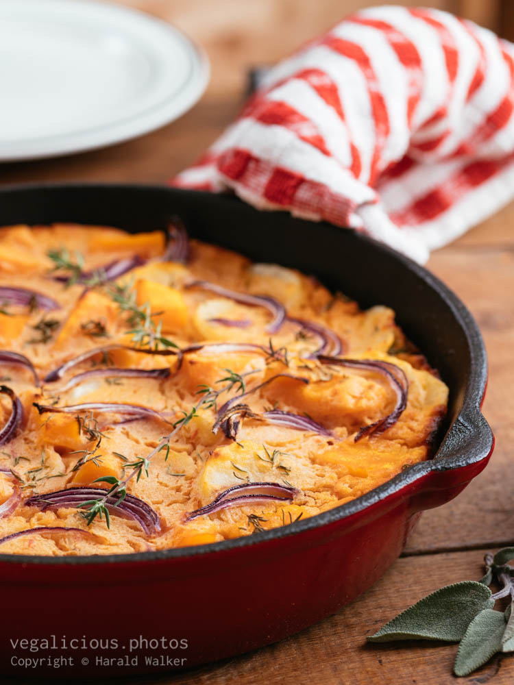 Stock photo of Vegan Spanish Tortillia with Squash and Red Onions
