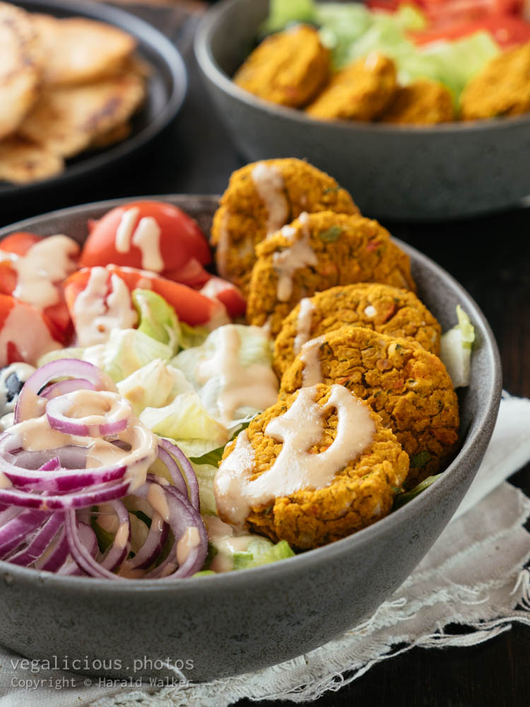 Stock photo of Baked Pumpkin Falafel Bowl