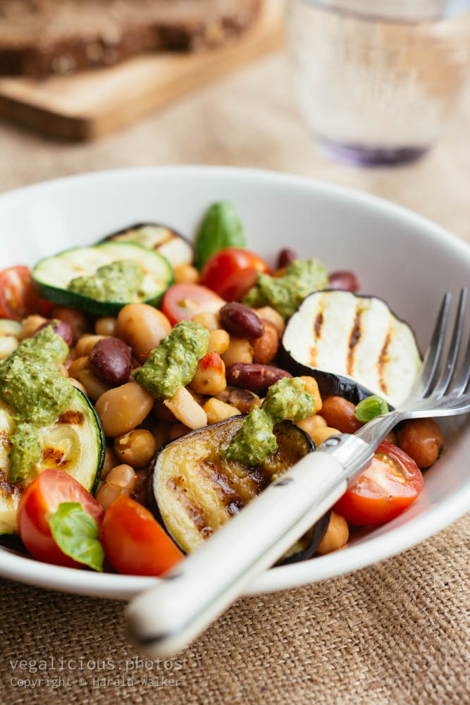 Stock photo of Grilled Vegetables with Mixed Beans and Spinach Walnut Pesto