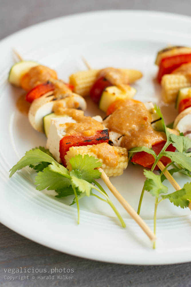 Stock photo of Grilled Veggies with Thai Peanut Sauce