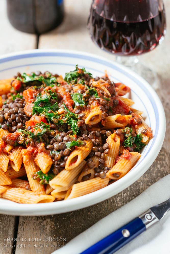 Stock photo of Rigatoni with Lentil Bolognese and Kale