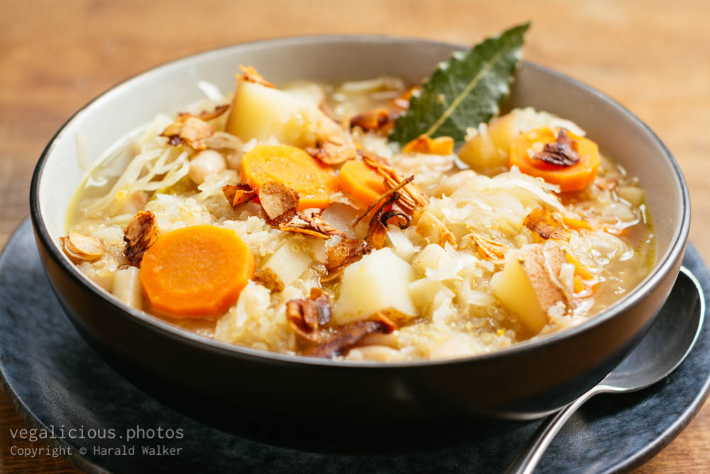 Stock photo of Classic Ukrainian Sauerkraut Soup (vegan version)