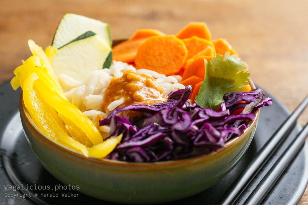 Stock photo of Asian Noodle Salad with Spicy Peanut Dressing
