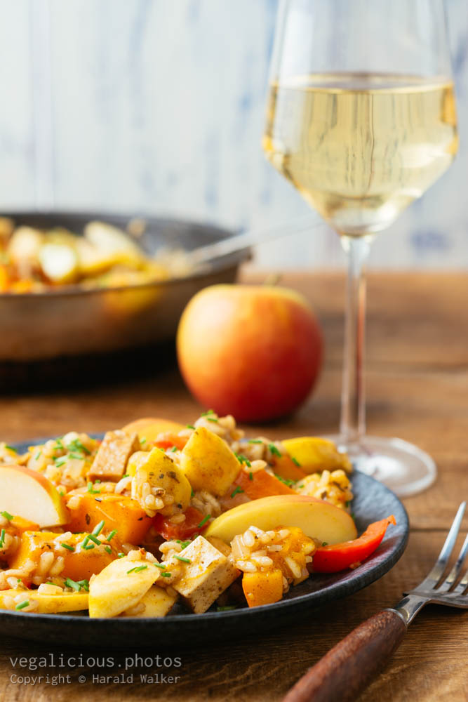 Stock photo of Pumpkin and Apple Risotto with Tofu Pieces