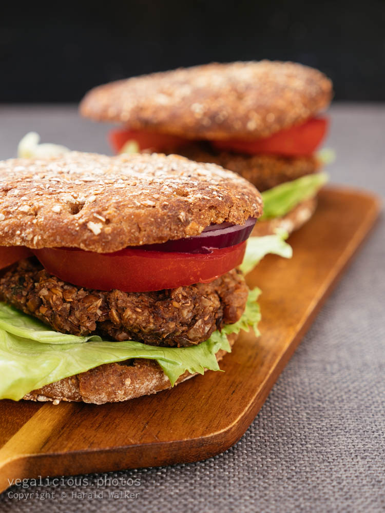 Stock photo of Lentil, Walnut Burgers on Whole Wheat Buns