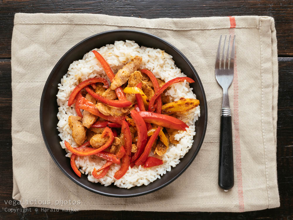 Stock photo of Bell Peppers and TVP Pieces on Rice