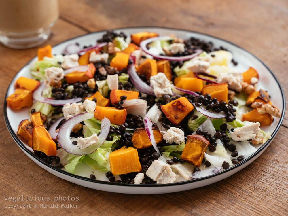 Stock photo of Roasted Pumpkin and Beluga Lentil Salad