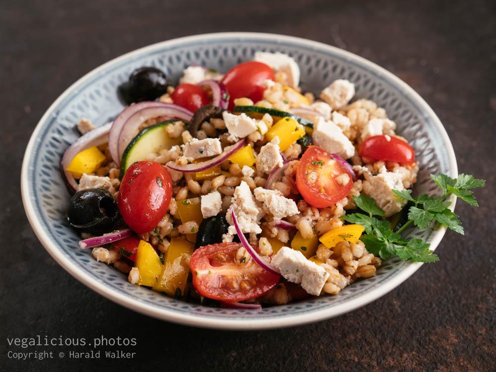 Stock photo of Greek Barley Salad with Vegan Feta