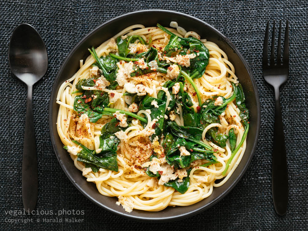 Stock photo of Garlicy Spinach on Spaghetti