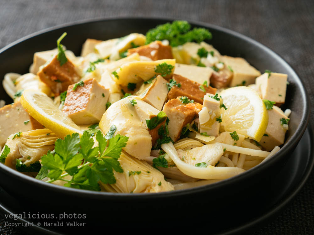 Stock photo of Artichokes and Smokey Tofu on Pasta