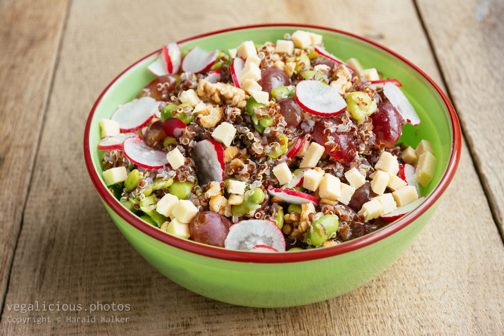 Stock photo of Quinoa Salad with Walnuts, Fava Beans, Radishes and Soy Cheese
