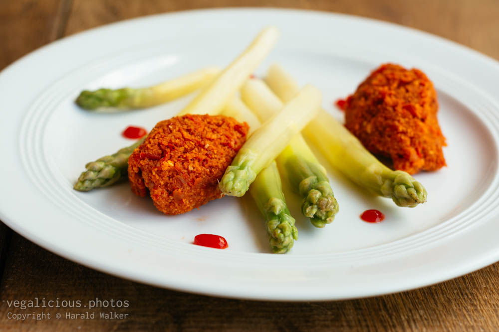Stock photo of Asparagus with Red Paprika Mousse