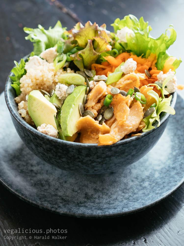 Stock photo of Vegan Chickun Bowl with Quinoa