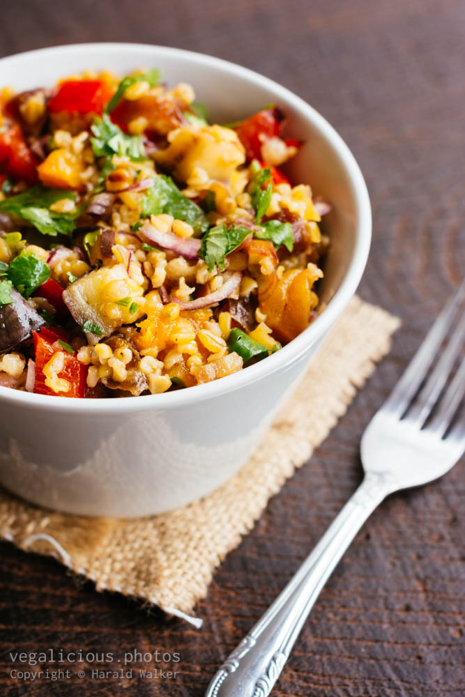 Stock photo of Freekeh Salad with Eggplant, Apricots and Dates