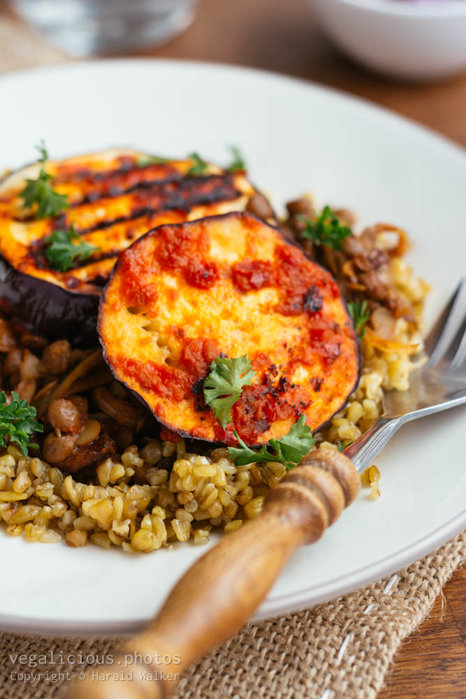Stock photo of Middle-eastern freekeh lentil and harrisa eggplant