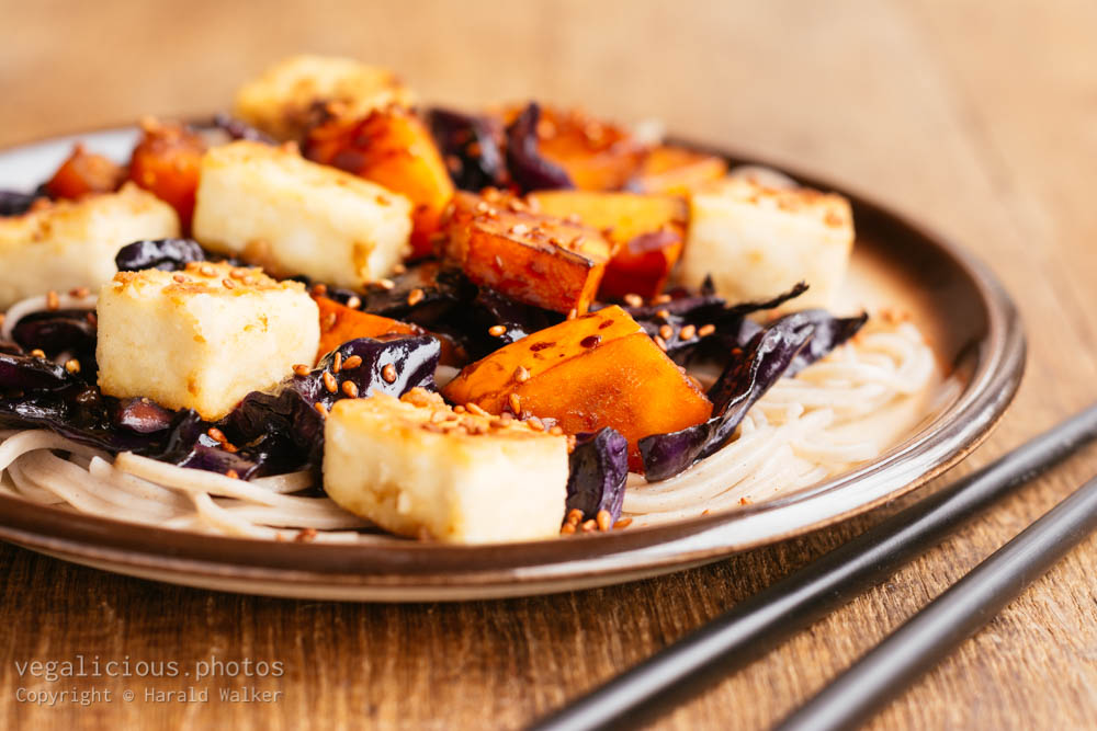Stock photo of Stir-fried Tofu with Red Cabbage and Winter Squash