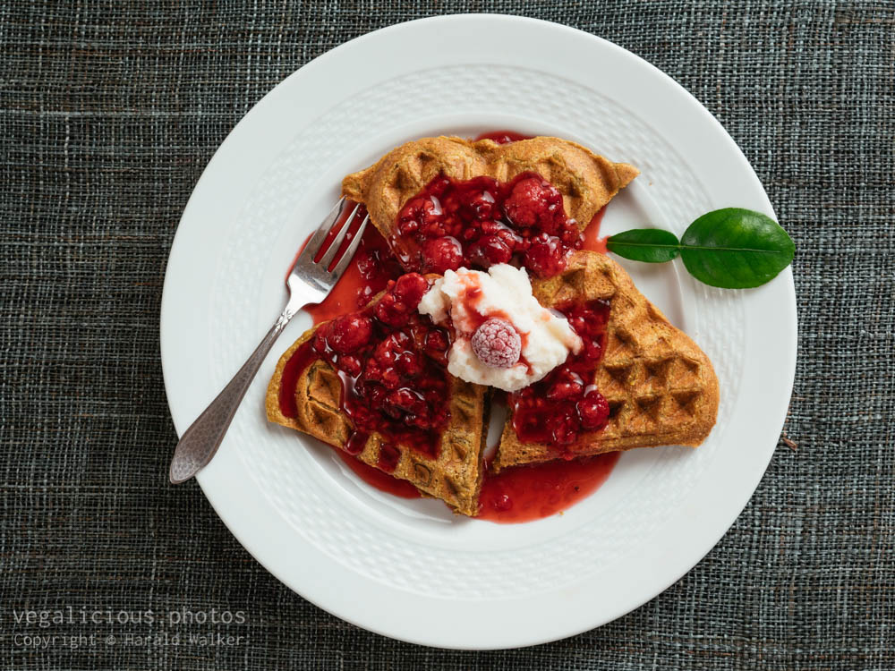 Stock photo of Beet Waffles with Raspberry Sauce