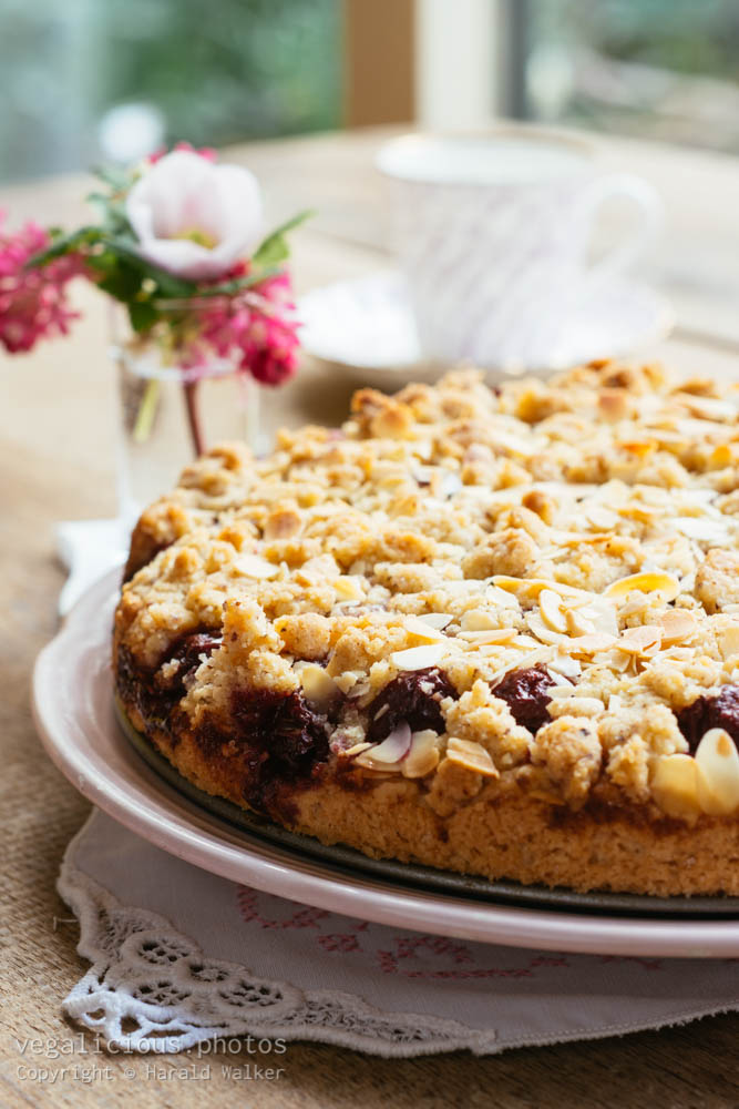 Stock photo of Chocolate Chip Cherry Cake with Almond Streusel Topping